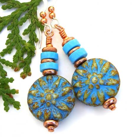 turquoise beige copper dahlia flower dangle earrings