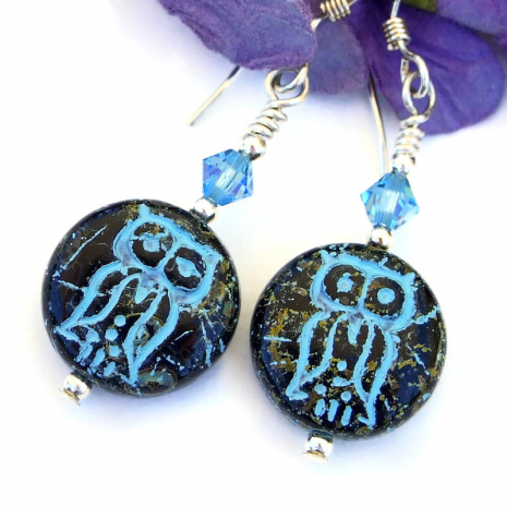 turquoise blue and black Czech glass owl earrings with Swarovski crystals