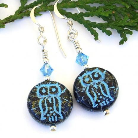 turquoise blue and black Czech glass owl jewelry with Swarovski crystals
