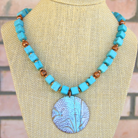 turquoise brass dragonfly necklace magnesite copper