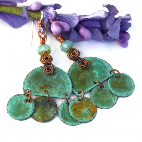 turquoise copper boho gypsy dangle earrings with spirals