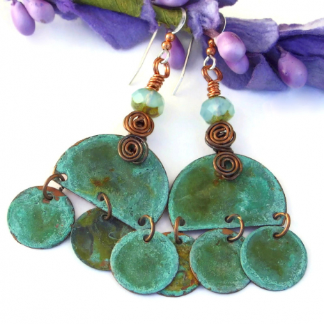 turquoise copper boho gypsy dangle jewelry with spirals