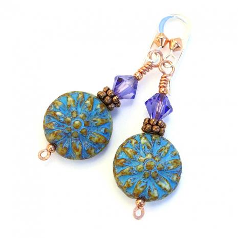 Turquoise flower earrings.