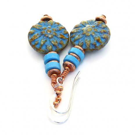 turquoise dahlia flower jewelry