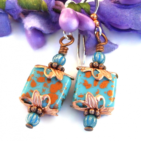 turquoise glass earrings with copper spots