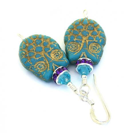 Turquoise owl earrings.