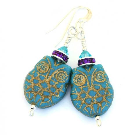 Turquoise owl jewelry.