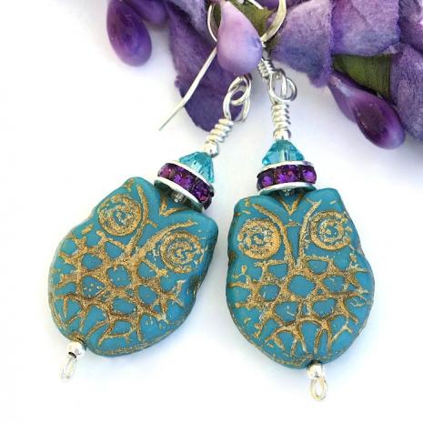 Handmade owl earrings for women.