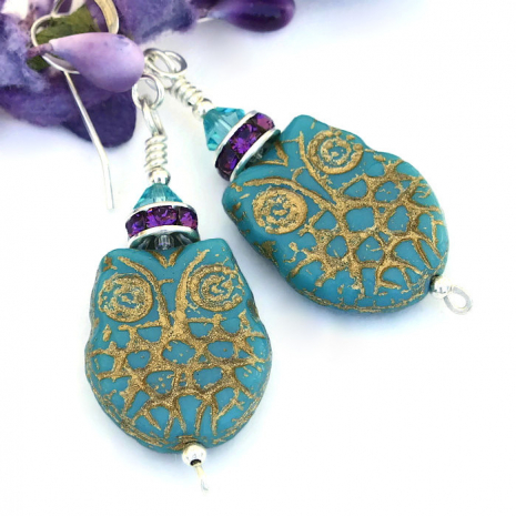 Owl earrings gift idea for her.