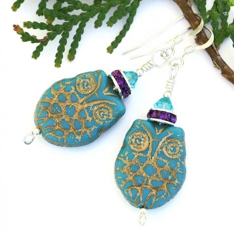 Czech glass owl earrings.