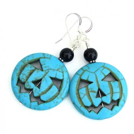 Halloween jack o lantern earrings for women gift idea