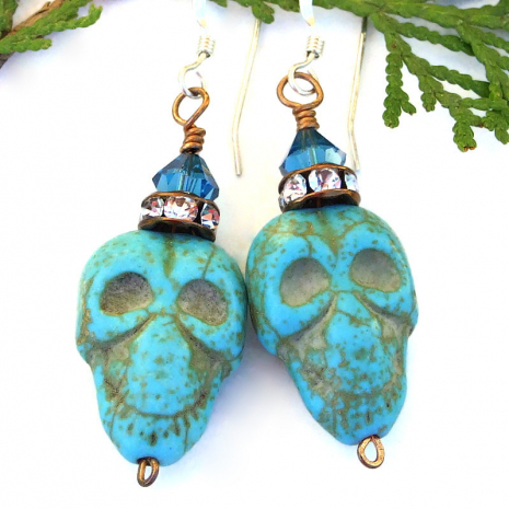 turquoise magnesite halloween skull jewelry with crystals