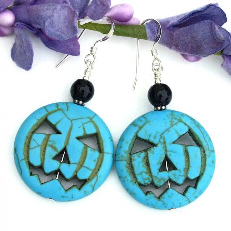 Turquoise jack o lantern pumpkin jewelry