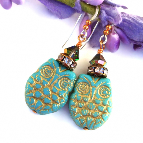 turquoise owl earrings with Swarovski crystals