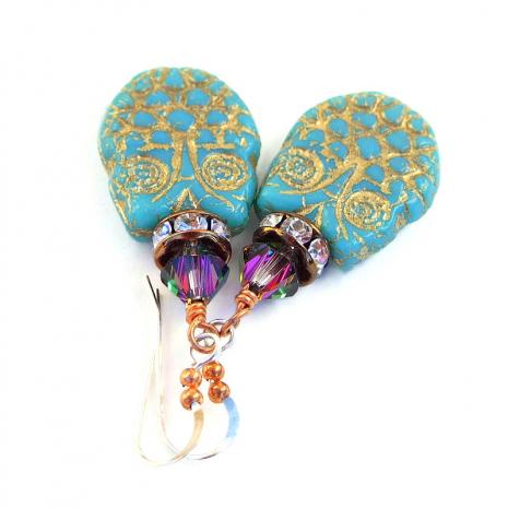 turquoise owl jewelry with swarovski crystals