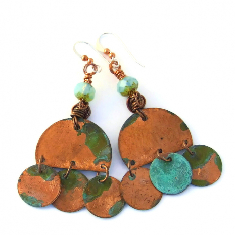 turquoise patina copper boho earrings