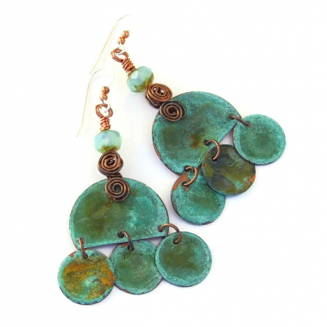 turquoise patina copper boho jewelry