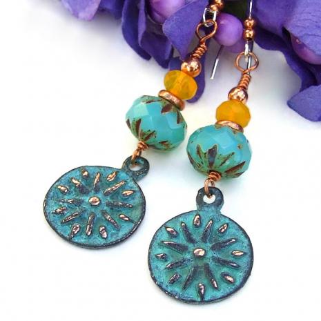 turquoise patina sun charms handmade jewelry