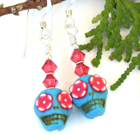 turquoise pink sugar skull earrings with flower eyes and crystals