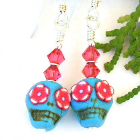 turquoise pink sugar skull jewelry with flower eyes and crystals