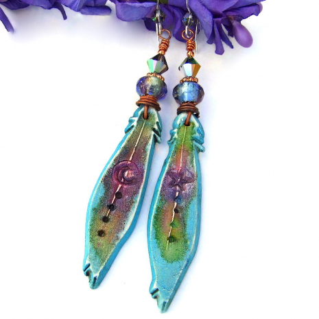 turquoise polymer clay feathers with moon and star earrings