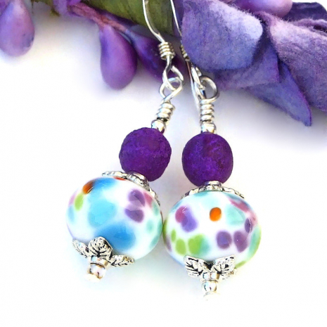 turquoise purple aqua green orange spotted lampwork glass earrings