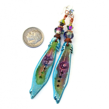 turquoise purple green polymer clay feather earrings with moon star