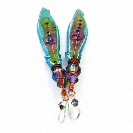 turquoise purple green polymer clay feather jewelry with moon star