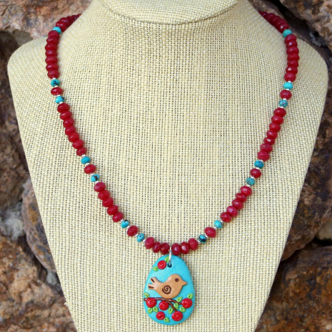 turquoise red bird flowers handmade jewelry with gemstones