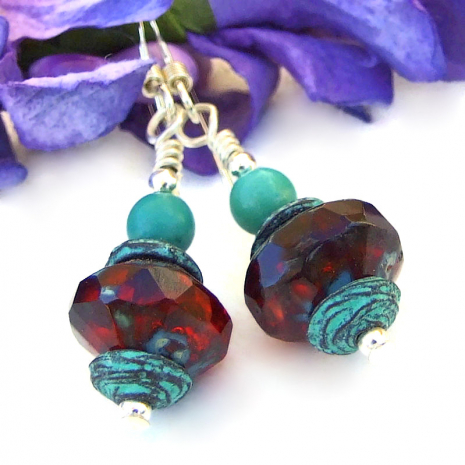 turquoise red handmade dangle earrings