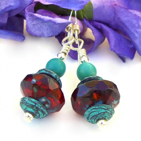 turquoise red handmade dangle jewelry