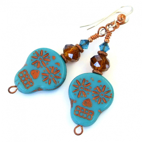 Turquoise and copper Halloween sugar skull earrings.