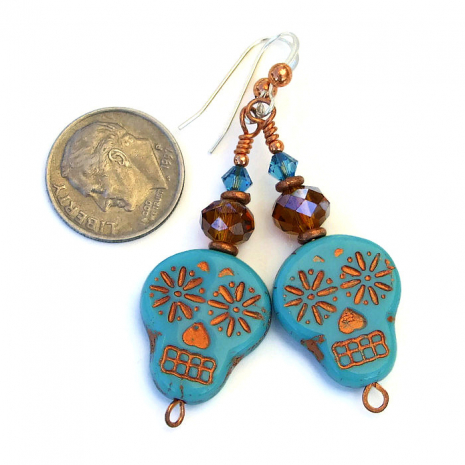 Handmade turquoise skull earrings with crystals for her.