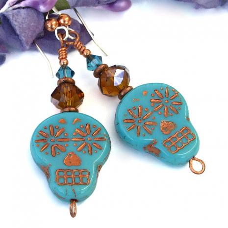 Sugar skull earrings for women.
