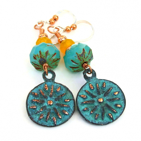 turquoise yellow sun charm earrings gift for her