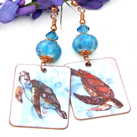 turtle earrings with lampwork glass beads