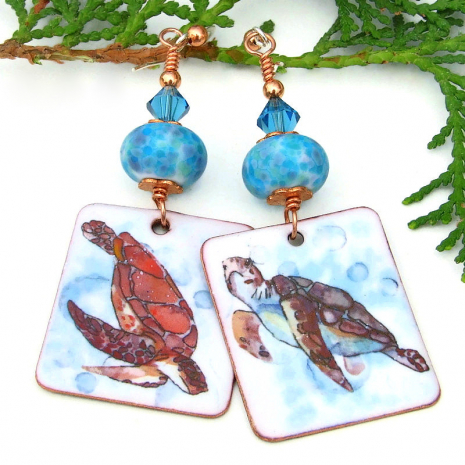 turtle lover earrings lampwork beads swarovski crystals