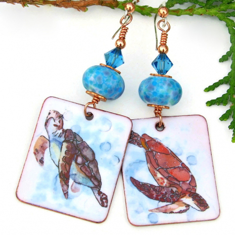 enamel sea turtle handmade earrings blue frit lampwork beads