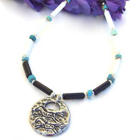 two horses handmade pendant jewelry turquoise black onyx white jasper