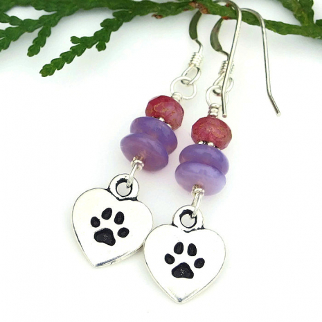 dog paw print earrings for women