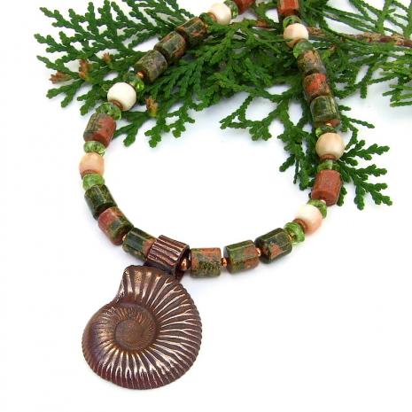 unakite, peridot and coral jewelry with copper ammonite pendant