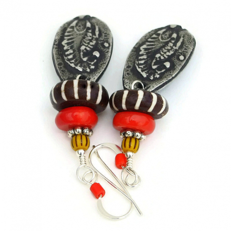 African animal earrings for women
