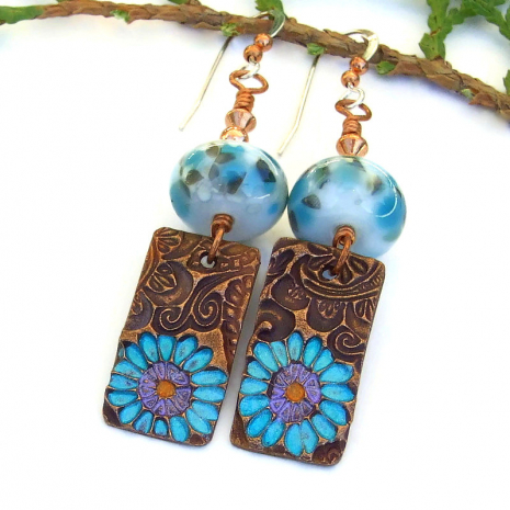unique aqua turquoise and purple daisy flower copper earrings