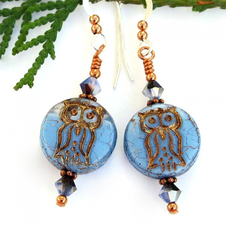 blue and copper owl earrings
