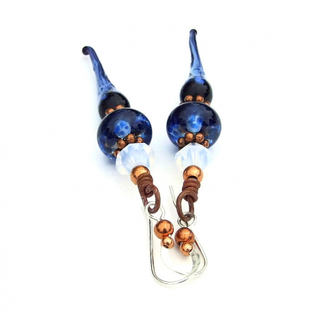 blue icicle lampwork earrings