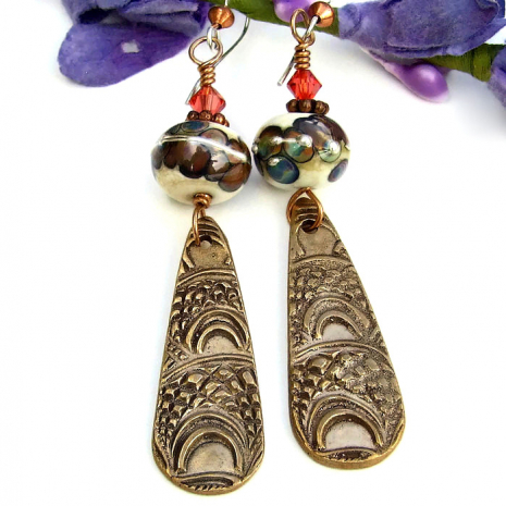 Marrakech inspired bronze dangle earrings for women