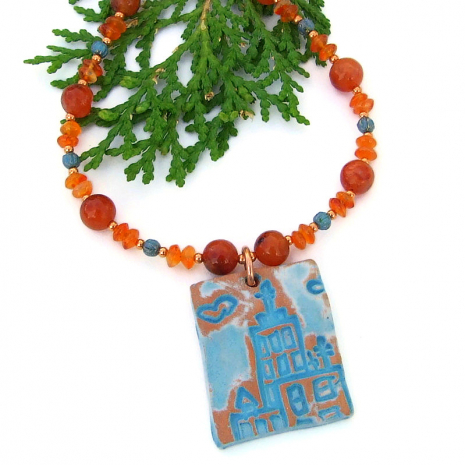 unique ceramic church pendant and carnelian handmade jewelry