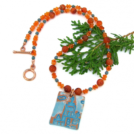 unique ceramic church pendant and carnelian handmade necklace
