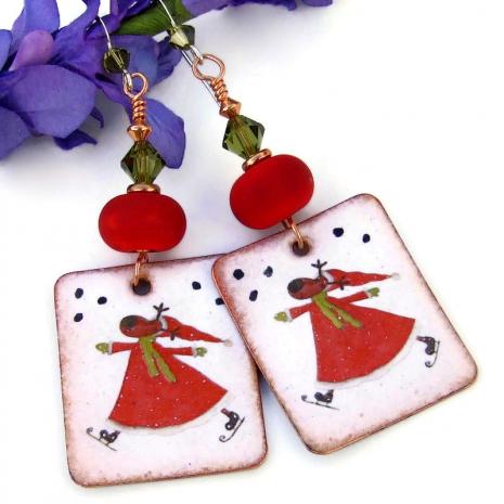 unique christmas holidays skating reindeer handmade earrings