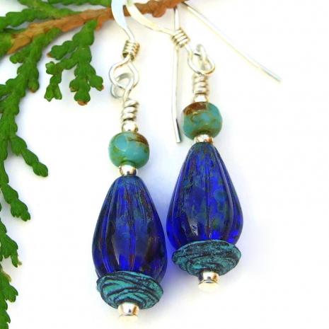 unique cobalt blue mykonos czech glass teardrop earrings